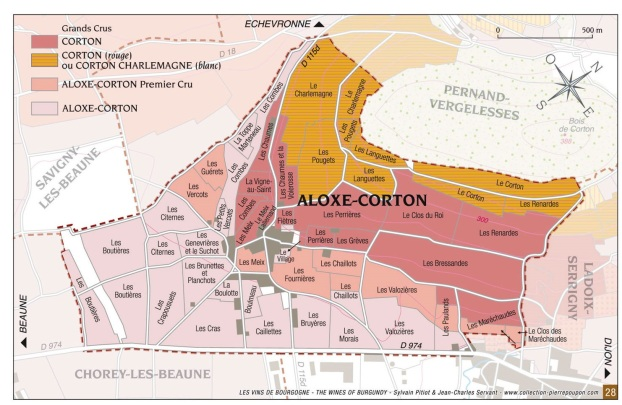 carte de l'appellation Corton